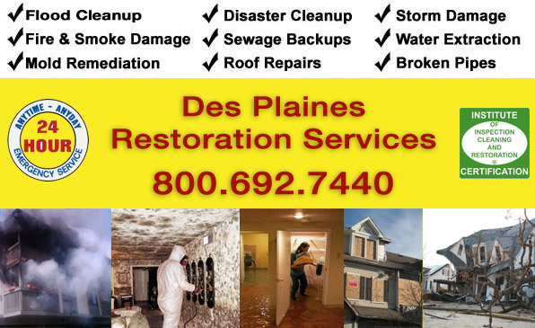 des plaines illinois water flood fire smoke restoration