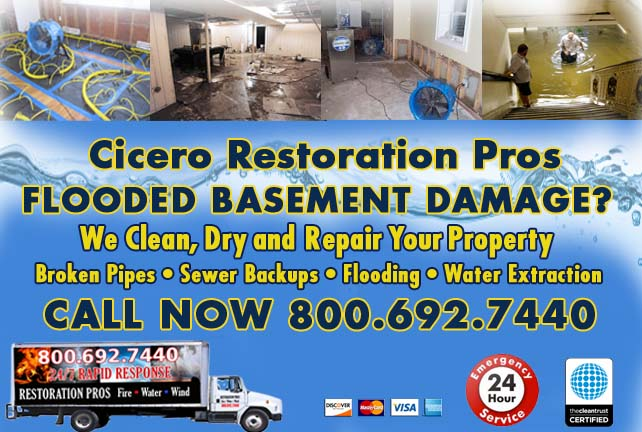 Cicero flooded basement cleanup