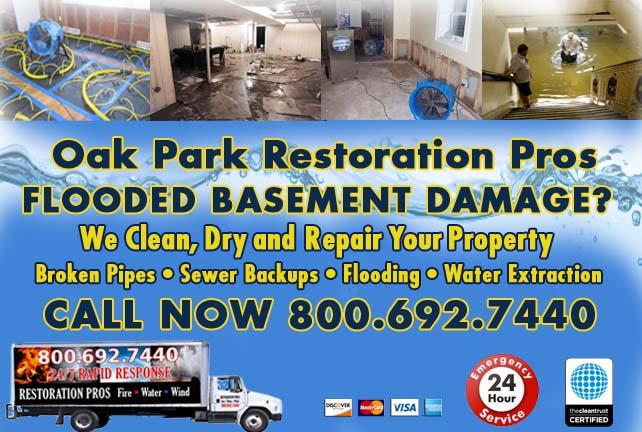 Oak Park flooded basement cleanup