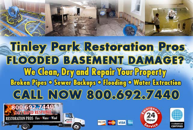 Tinley Park flooded basement cleanup